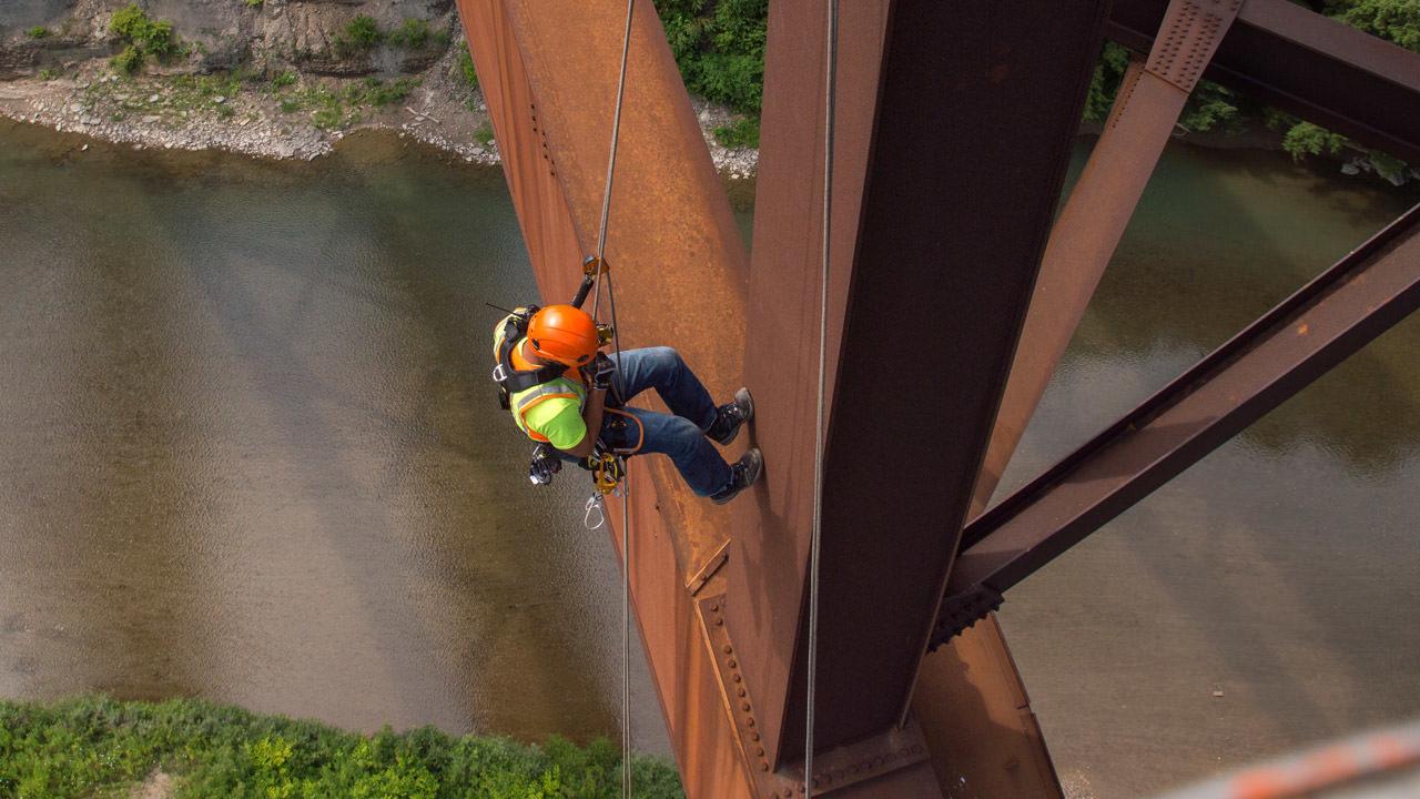 Inspection worker on bridge